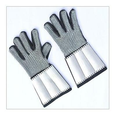 Mail Backed Leather Gauntlets With Steel Wrist Plates - Purfect for re-enactment