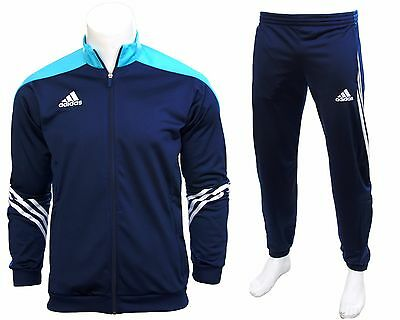 Adidas Full Mens Tracksuit Zip Jogging Top Bottoms 3 Stripe Navy Size S - XXL
