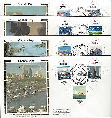 1992 Canada Day #1420-31 set of 4 FDC with Colorano Silk cachet