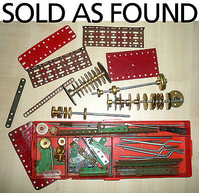 Job Lot Meccano and other parts in red plastic tray