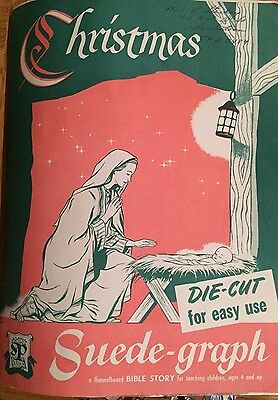 Extremely RARE Christmas Suede-graph- A Flannelboard Bible Story 1952