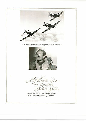 Sqd Ldr Chrstopher Riddle Battle of Britain Hurricane pilot signed Print