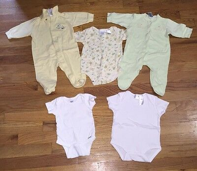 Lot of 5 Unisex Baby Clothes, 3-6 months, Green, Yellow, White