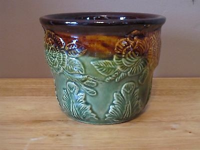 Vintage RRP Co. Roseville OH Green & Brown Pottery Planter~387/5~Great Shape!!