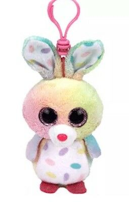TY Basket Beanie Baby - SWIRLS the Bunny Rabbit with Plastic Clip (3 inch) -MWMT