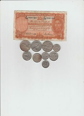 Australia Ten Shillings Banknote And Coin Lot