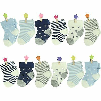 Colorfox Unisex Baby Infant Newborn Star Stripe Cute Soft Cotton Crew Socks 12