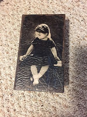 Girl Felt Lined Faux Book Box Leather Look ? Vintage ?
