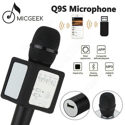 MicGeek Q9S Upgraded Wireless Microphone KTV Karaoke Black Handheld For Android