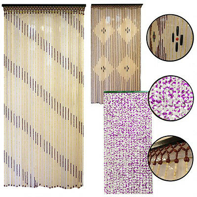 BEADED DOOR CURTAIN Wooden Bamboo Strings Curtains Beads Fly Bug Screen Divider
