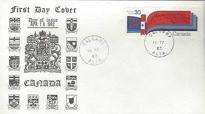 1981 #916 New Canadian Constitution  FDC with unusual Calgary, AB cachet