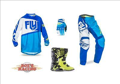 Fly Racing F-16 Jersey,pant,glove, Hi-Vis Boot Combo Blue, White, Hi-Vis  Sx Mx