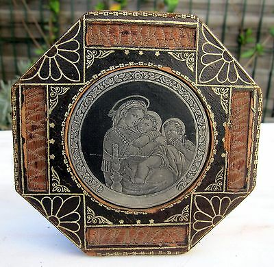 Antique French Art Nouveau Deco Holy Icon Religious Frame Silver Leather St Mary