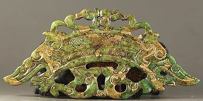 Old Chinese natural jade hand-carved statue of double dragon pendant NO.X877