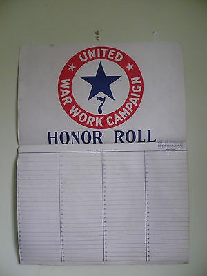 """Original WW1 Poster """"UNITED WAR WORK CAMPAIGN - HONOR ROLL""""  Linen Backed"""