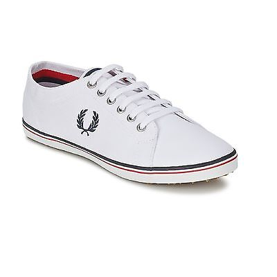FRED PERRY KINGSTON Twill - Sneakers Baskets Chaussures cuir basses Blanc *NEUF*