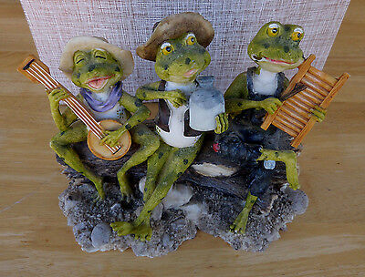 Frog Figurine Hillbilly Band Hillbillies playing Banjo Moonshine Jug Scrub Board