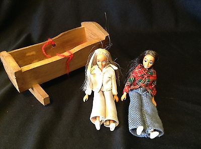 VINTAGE lot of 2 and wood cradle MARX DOLL HOUSE DOLLS