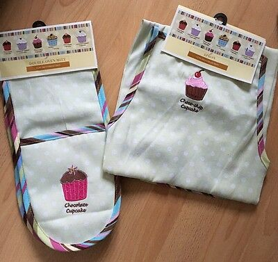 Home Brand New Shabby Chic Kitchen Baking Apron And Oven Gloves