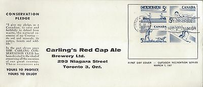 1957 #365-8 Recreation Sports FDC with Carling's Red Cap Ale cachet