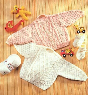 Knitting Pattern Baby's DK Cable Cardigan & Sweater & Bootees Preemie-3yrs  (19)