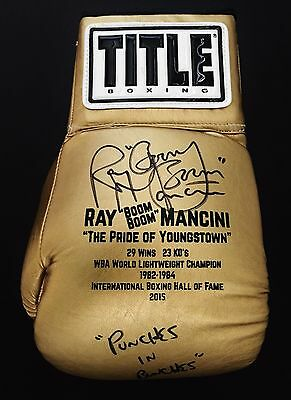 "RAY ""BOOM BOOM"" MANCINI SIGNED CUSTOM GOLD BOXING GLOVE w/PUNCHES IN BUNCHES-JSA"