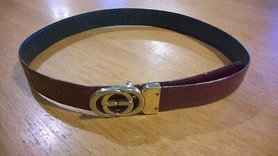 Vintage Ladies Gucci Belt, reversable Navy/Burgundy Length 34""