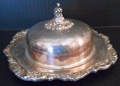 VINTAGE 2 PC BAROQUE by WALLACE 244 ORNATE ROUND BUTTER DISH & LID MARKED