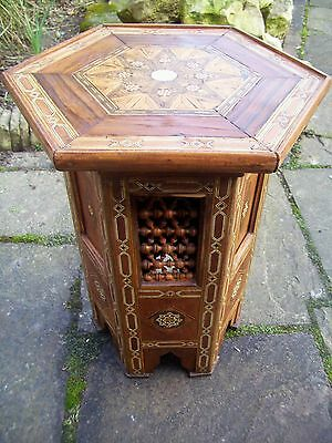 Beautiful Antique Moorish Islamic Wooden Inlaid Side Table With Beaded Panels