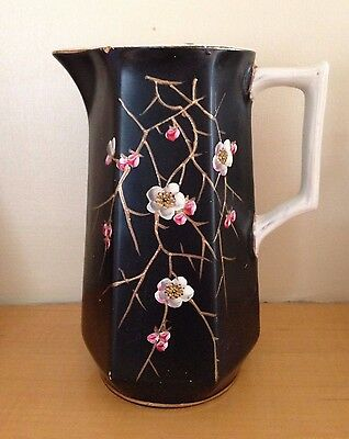Large Antique Black Jug With Handpainted Flowers
