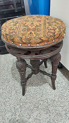 Vintage Antique Piano Stool with Revolving Swivel Top