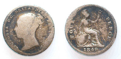 Great Britain United Kingdom 1 Groat 1849 Queen Victoria 4 Pence Silver #AF1