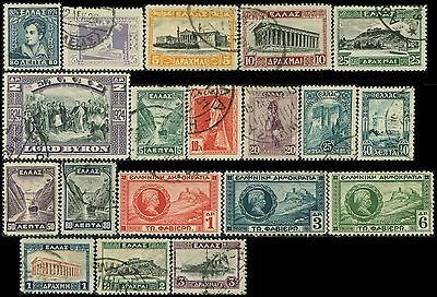 GRECE/GREECE/HELLAS  lot 19 timbres/stamps  1924-1927  Oblit/Used