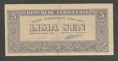 Indonesia 5 Sen 1945, VF+; P-14