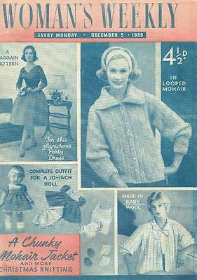 Vintage Womans Weekly Magazine December 1959 - inc knitting - dolls clothes etc