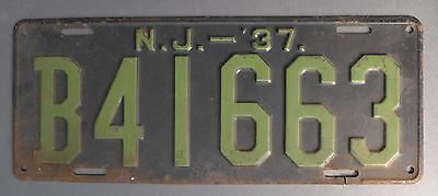 Vintage 1937 New Jersey License Plate Black & Green # B41663 NJ Tag / Automobile