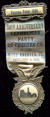 Ornate Antique 1905 Republican Party of Chester County Pennsylvania Badge