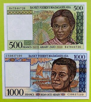 MADAGASCAR 500 1000 Francs 1994 GREAT COLOURFUL UNCIRCULATED BANKNOTES x2