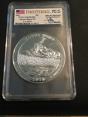 2010 Mount Hood ATB 5oz. Silver, PCGS MS69DMPL, First Strike/Mercanti,  DEFECT