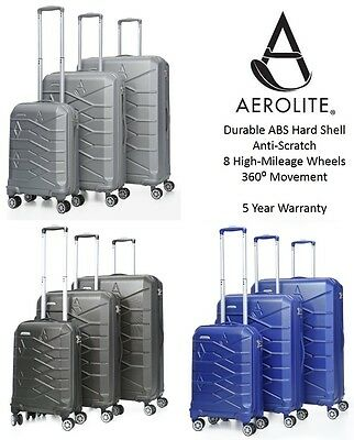 Aerolite Lightweight 8 Wheel ABS Hard Shell Hold Hand Cabin Luggage Suitcase
