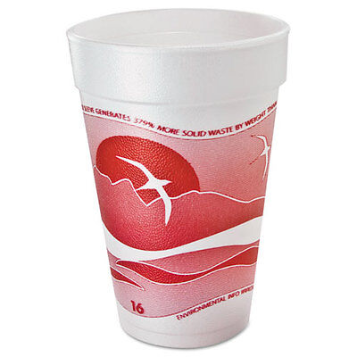 Dart Horizon Foam Cup Hot/Cold 16oz. Printed Cranberry/White 25/Bag 40/CT 16J16H