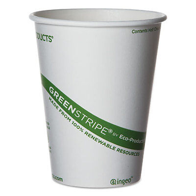 Eco-Products GreenStripe Renewable & Compostable Hot Cups - 12 oz. 50/PK 20 PK