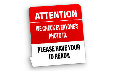 We Check ID Sign, Plastic L Style Signs, 5 Pack, Free Shipping