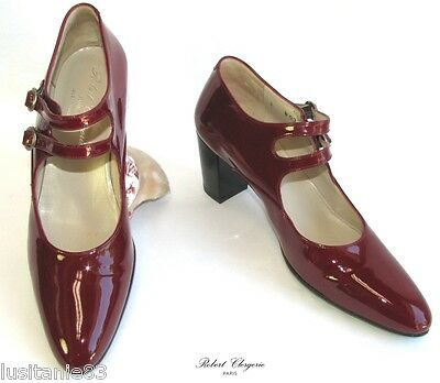 ROBERT CLERGERIE - SHOES ALL PATENT LEATHER RED Dark 7B = 38 EXCEL. CONDITION