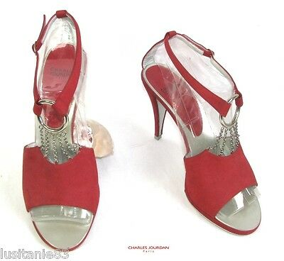 CHARLES JOURDAN COURT SHOES SALOMé HEELS 11CM LEATHER RED VELVET 39 EXCELLENT