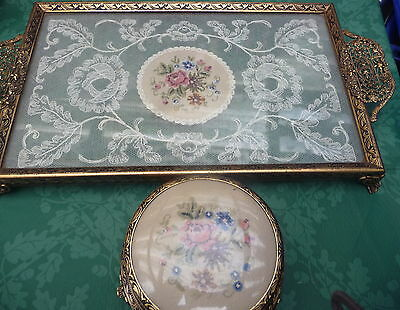 vintage petit point embroidered dressing table tray & mirror powder pot