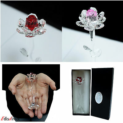 Crystal Roses In Red Or Pink, Gorgeous Crystal In Black Gift Box Gift Of Love