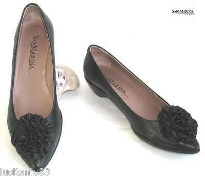 San Marina - Shoes Small Heels 3 Cm Black Leather 36 - Very Good Condition