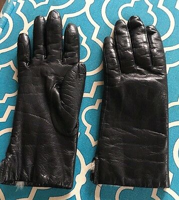 Womens White Rabbit  fur lined Black leather gloves Fownes  size 7