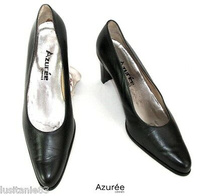 Azuree - Heels Shoes 8 Cm All Leather Black 6 39 - Excellent Condition